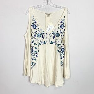 Lucky Brand | NWT cream embroidered blouse large